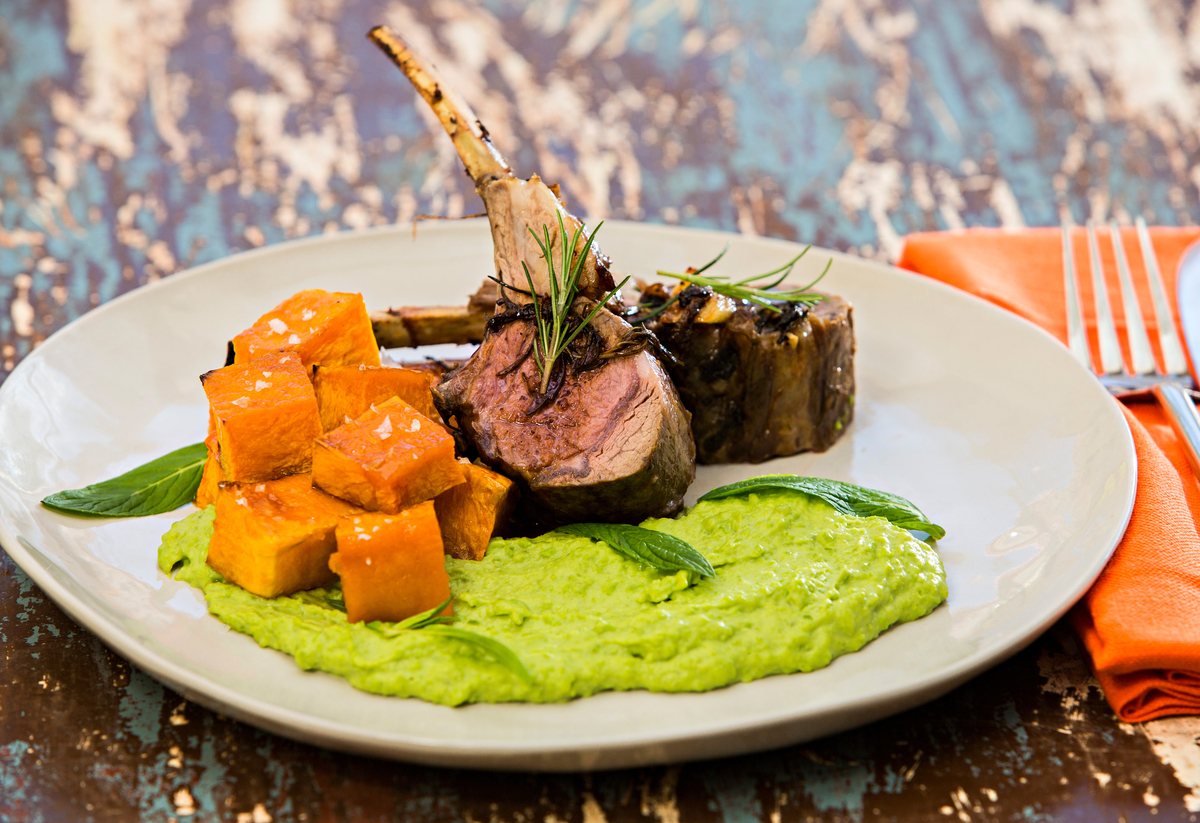 Rack-of-Lamb-with-pea-puree-and-maple-ro