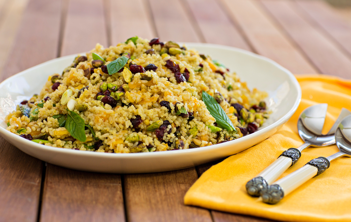 Red Rice and Quinoa Salad with Pistachios and Mint - Cooking with ...