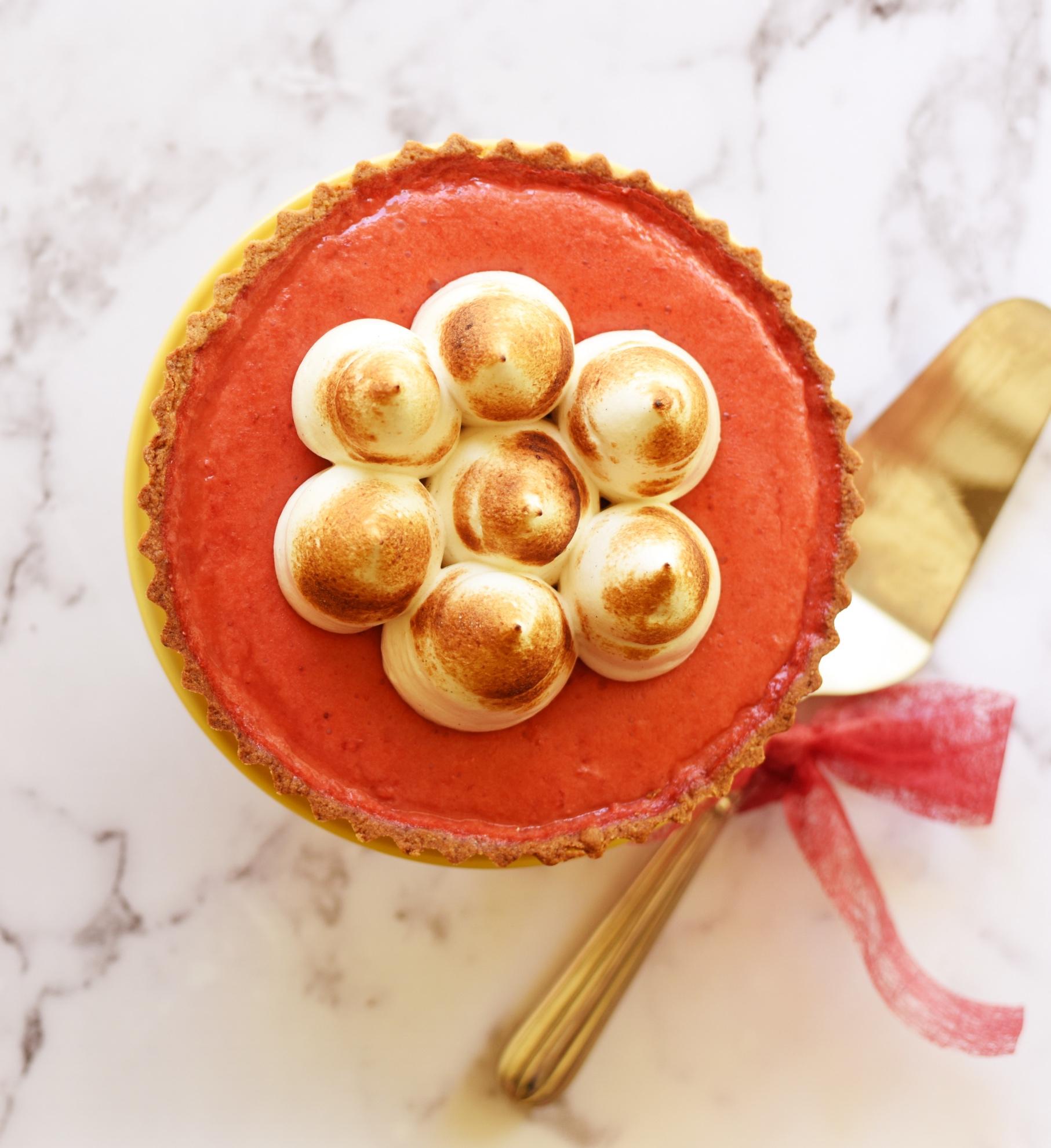 Strawberry Rose Meringue Pie