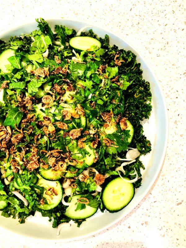 Baby Kaleand Cucumber Salad Fotor