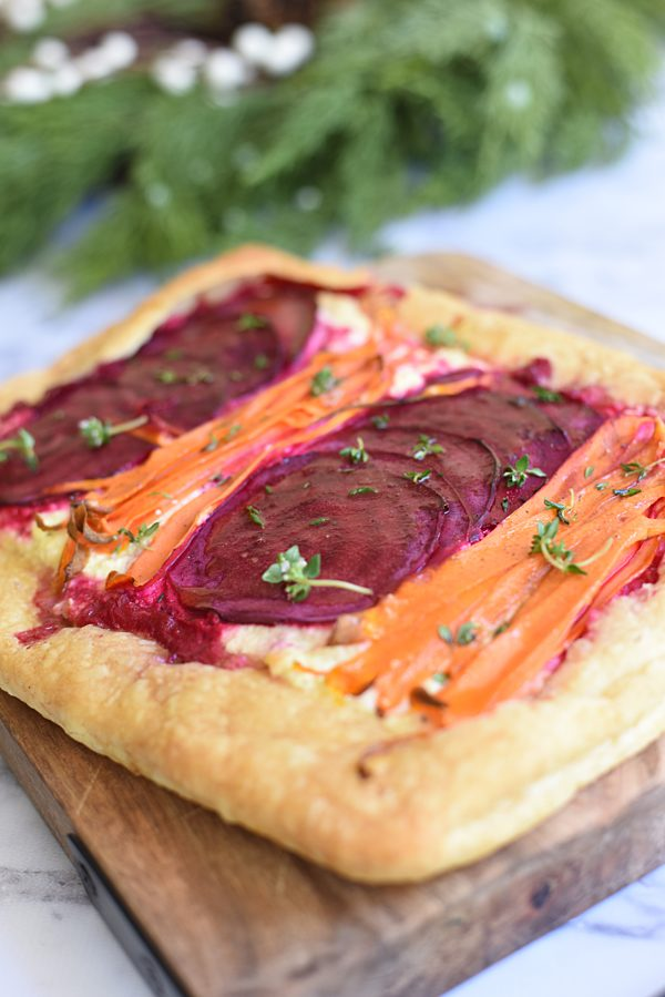 Beetroot Carrot Ricotta Tart