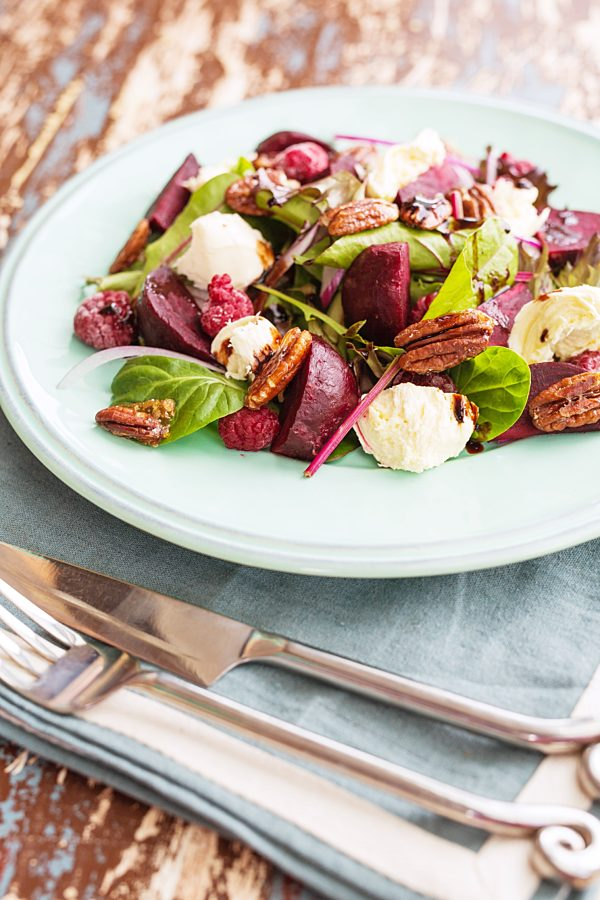 Beetroot And Honeyed Pecan Salad With Raspberry Balsamic Reduction