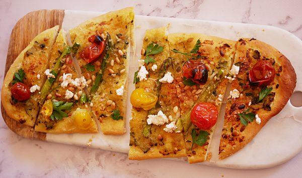 Blistered Tomato Spring Veg Flatbread Fotor