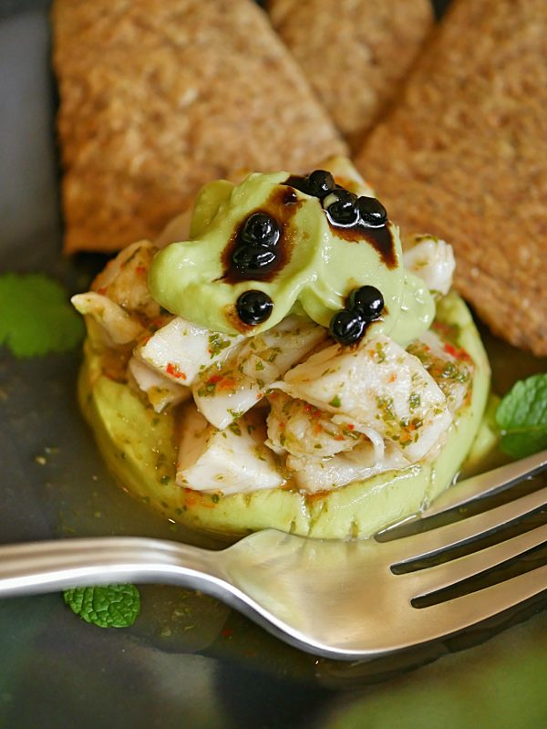 Ceviche with Avocado Mousse and Discard Crackers P Thermomix