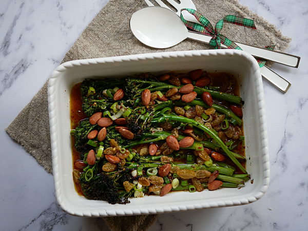 Charred Broccollini with Almond and Raisin Vinaigrette