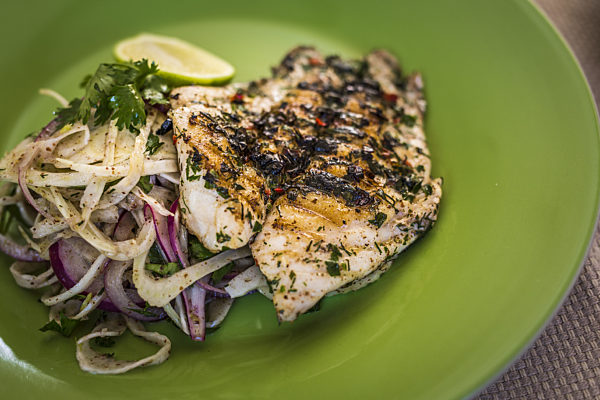 Charred Moroccan Fish Fillets With Fennel Salad
