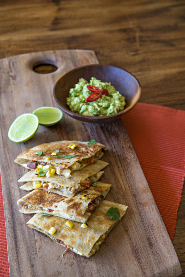Charred Corn and Chicken Quesadillas