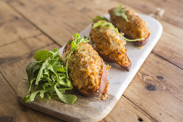 Cheesey Tuna Sweet Potato Skins