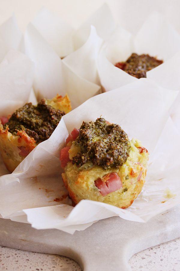 Cheesy Pesto Ham Muffins Cu Fotor