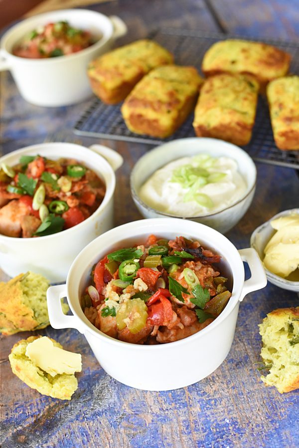 Chicken Sausage Jambalaya With Cheesy Cornbread Muffins 1