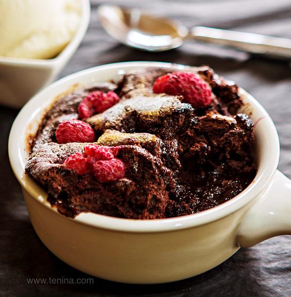 Chocolate Self Saucing Pudding With Raspberries