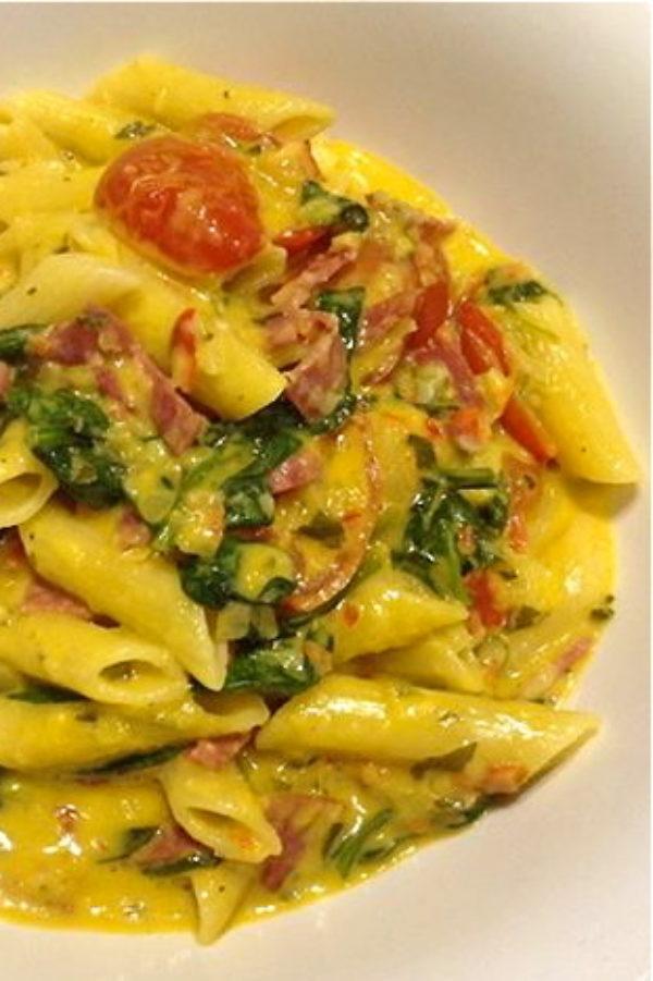 Creamy-tomato-salami-pasta