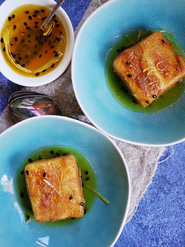Deep Fried Custard with Spiced Passionfruit Syrup P Thermomix