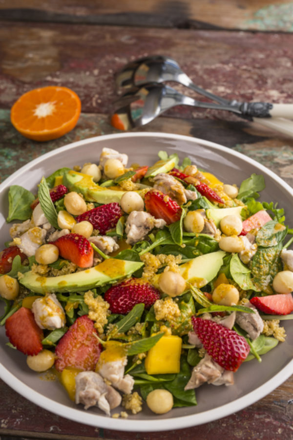 Fruity Chicken Salad With Minted Orange Dressing