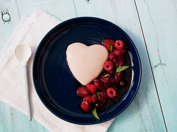 Photo of Raspberry Heart Milk Jelly with Slow Cooked Berries