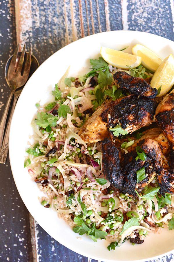 Jerk Chicken With Herb And Fennel Brown Rice Salad Portrait