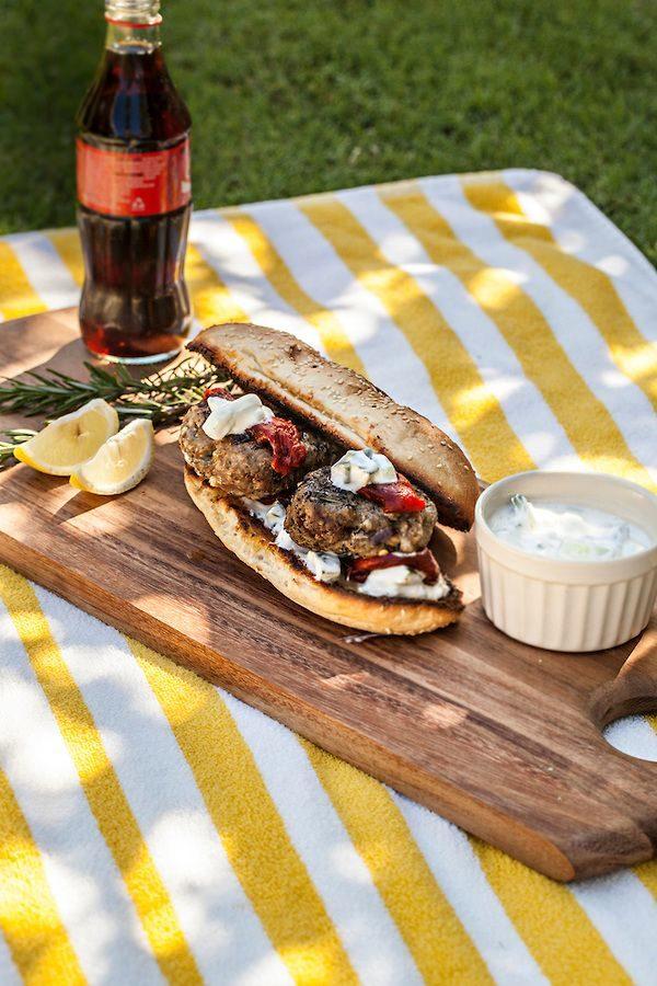 Photo of Lamb Burgers with Feta and Yoghurt Dressing