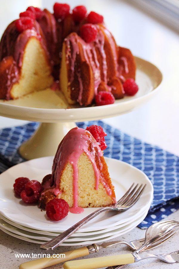 Lemon Bundt Cake With Raspberry Icing Fotor