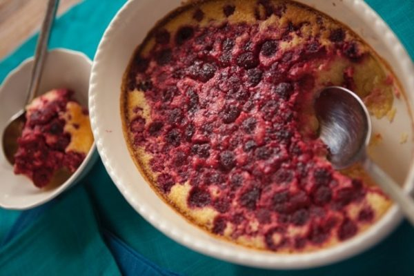 Lemon Coconut Pudding With Raspberries