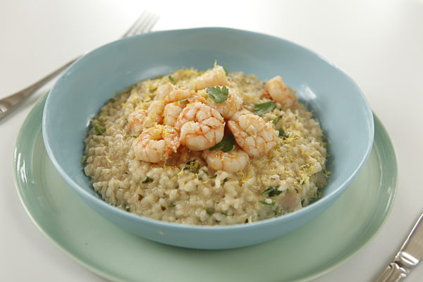 Light Lemon Risotto and Garlic Prawns