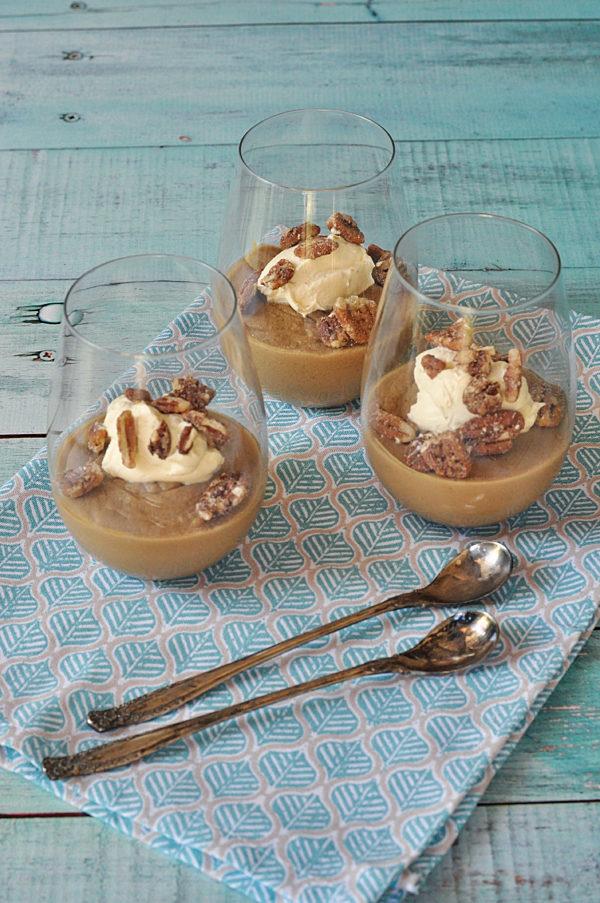 Maple Caramel And Vanilla Custard With Sticky Pecan Crumble