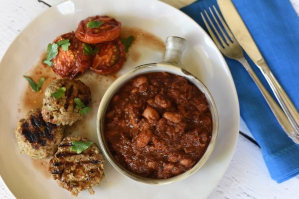 Maple Chipotle Baked Beans With Sausage Patties