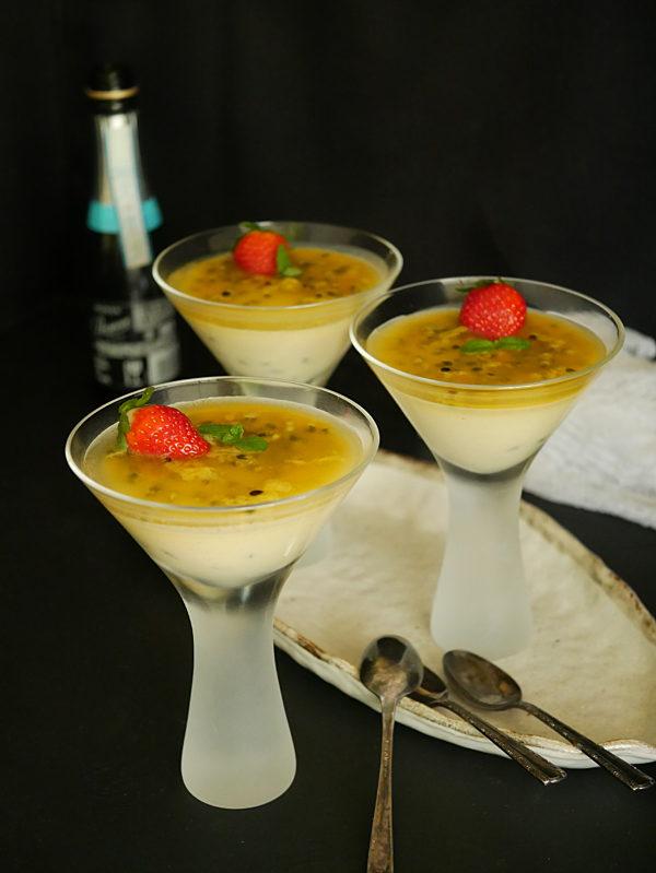 Passionfruit Mascarpone Panna Cotta with champagne P