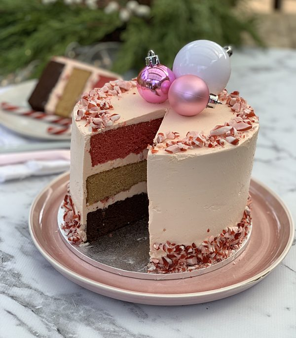 Pink Peppermint Triple Layer  Mudcake