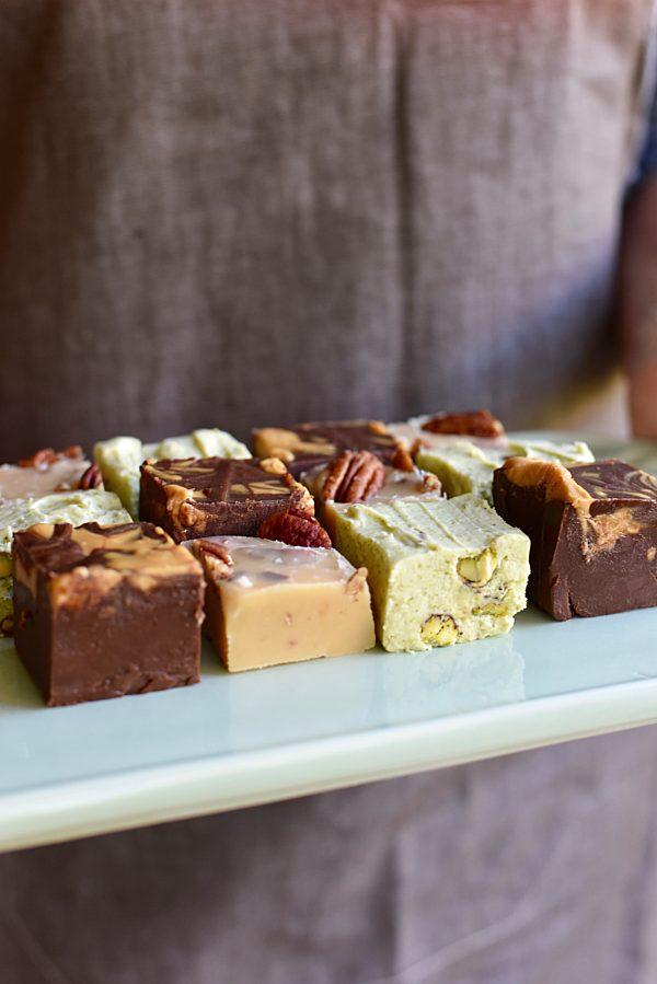 Pistachio Cream Cheese Chocolate Peanut Butter And Pecan Buttermilk Fudges Tenina Holding 1