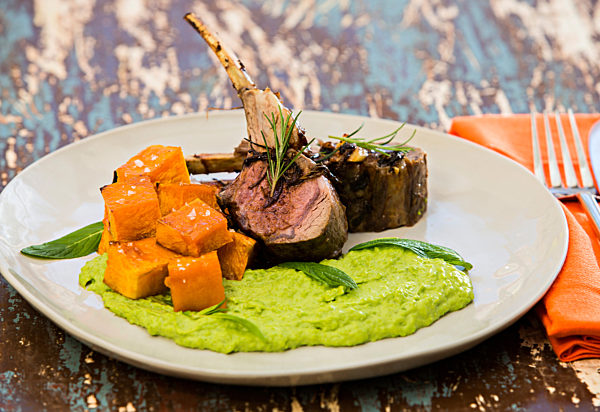 Rack-of-Lamb-with-pea-puree-and-maple-roasted-pumpkin