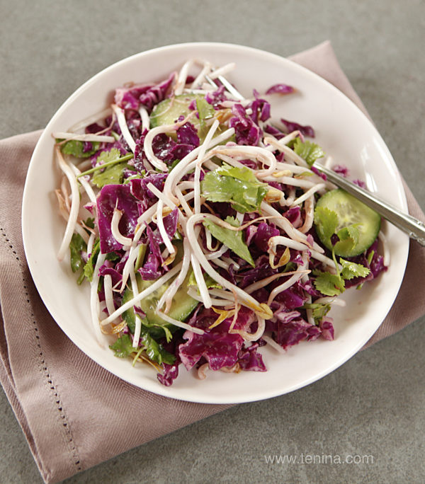 Photo of Red Cabbage and Sprout Salad with Tamarind Dressing