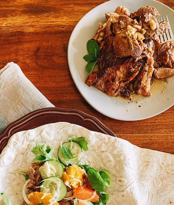 Roast Lamb With Citrus Mint Salad And Flat Bread Oh Fotor