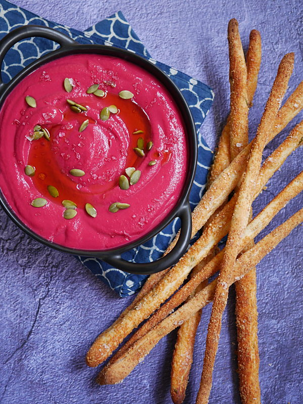 Ruby Hummus with Salted Rosemary Grissini P