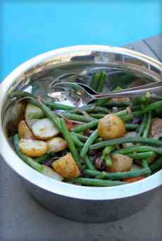 Roasted Potato Salad with steamed green beans