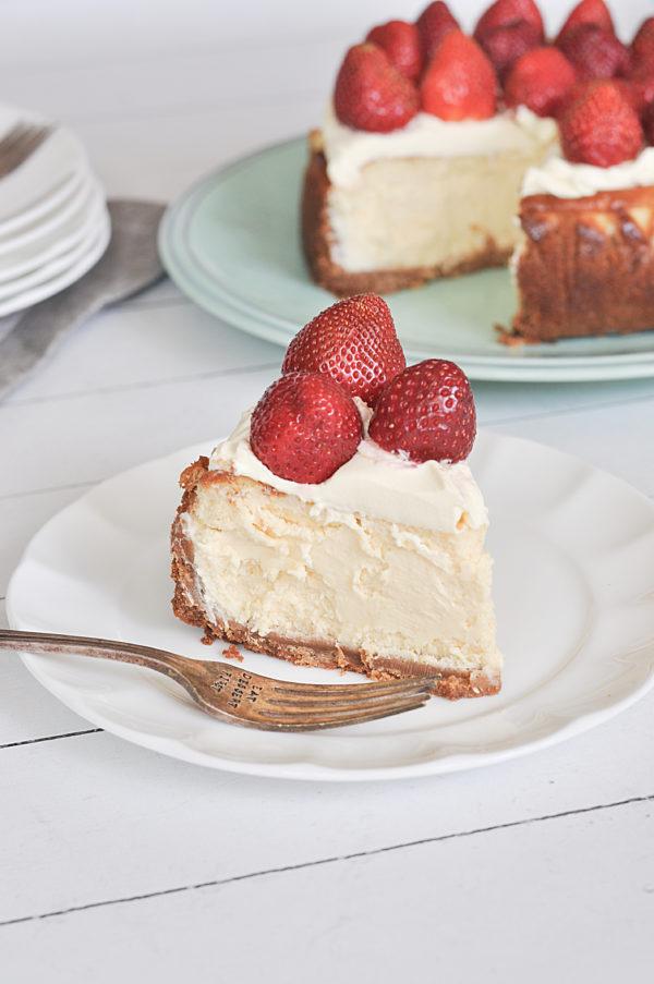 Rustic Mascarpone Cheesecake sliced