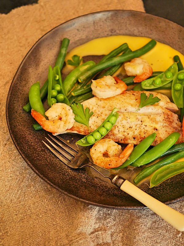 Snapper with Prawns and peas P Tenina