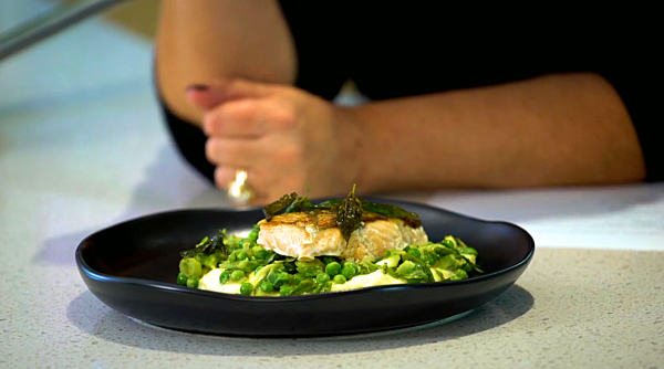 Sous Vide Salmon With Cauliflower Puree And Pea Salad