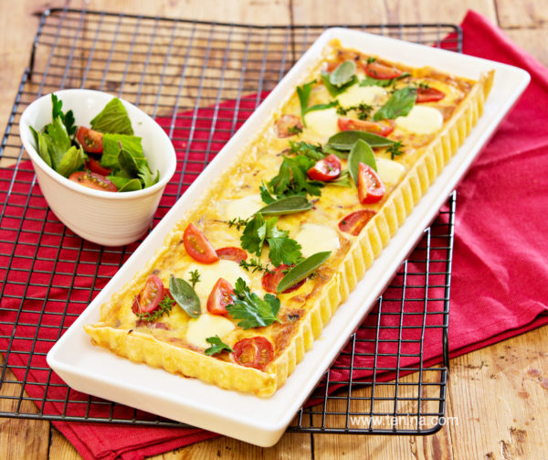 Speck-and-Cheese-Tart-with-Cherry-Tomatoes