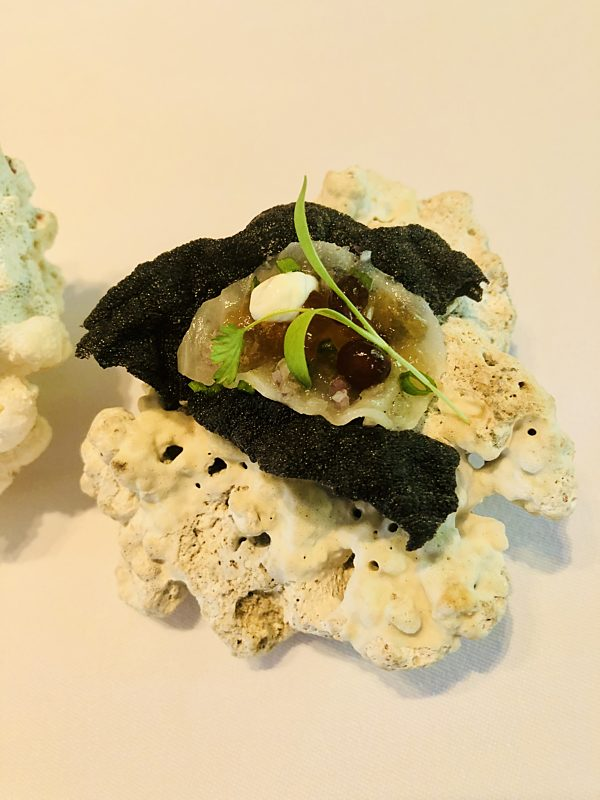 Squid Ink Cracker With Butterfish