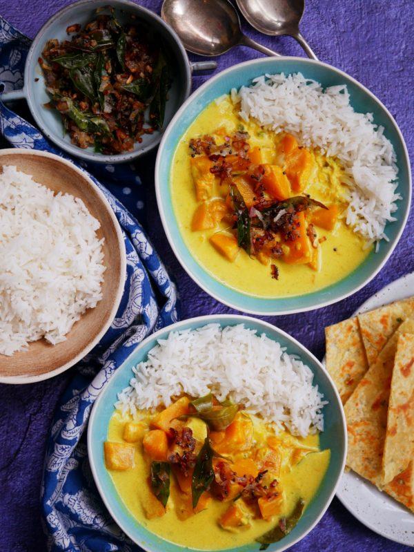Sri Lankan Pumpkin Curry with roti OH P Thermomix