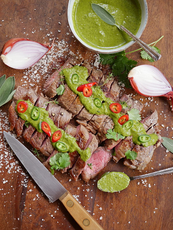 Steak with Salsa Verde P