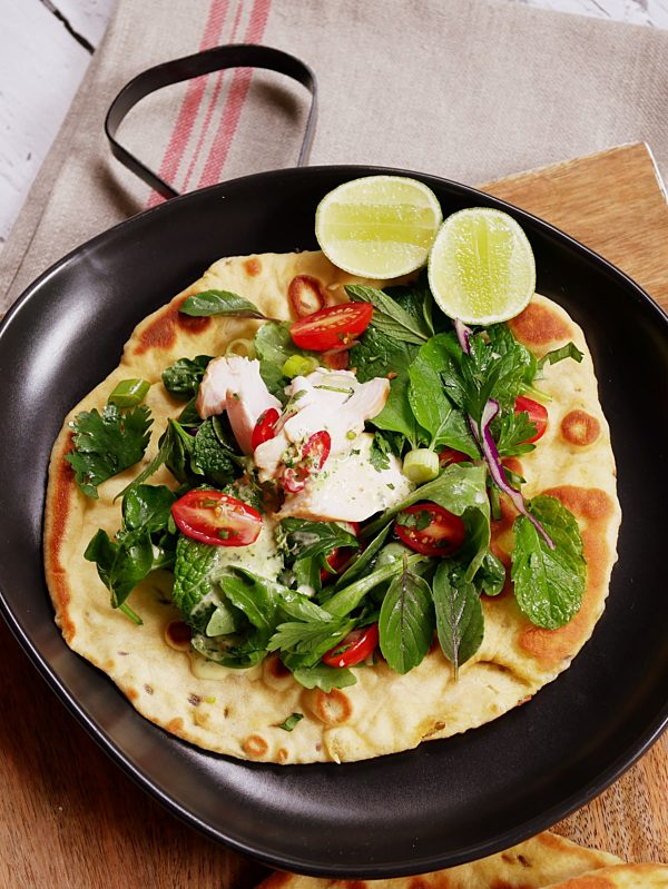 Thai Chicken Saladon Cumin Flatbread1 Fotor