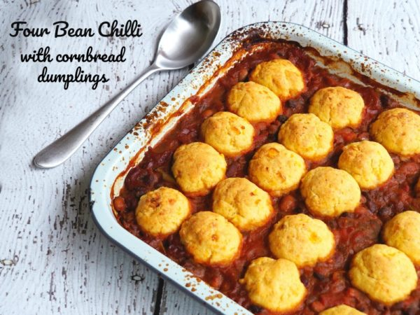 Photo of Four Bean Chili with Cornbread Dumplings